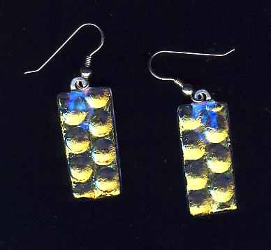Dichroic gold earrings