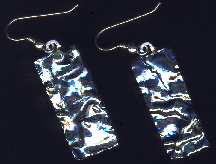 silvery dichroic earrings